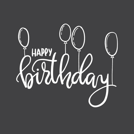 Happy Birthday. Hand Lettering Typography Template. For Posters ...