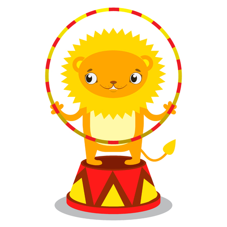 Circus lion on a pedestal with a Hoop in paws. Circus concept. Flat cartoon vector illustration Illustration
