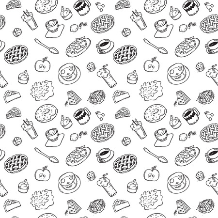 blackandwhite: Seamless pattern with hand drawn doodle dessert.  black-and-white doodles food hand-drawn contour on a white background for children coloring Illustration