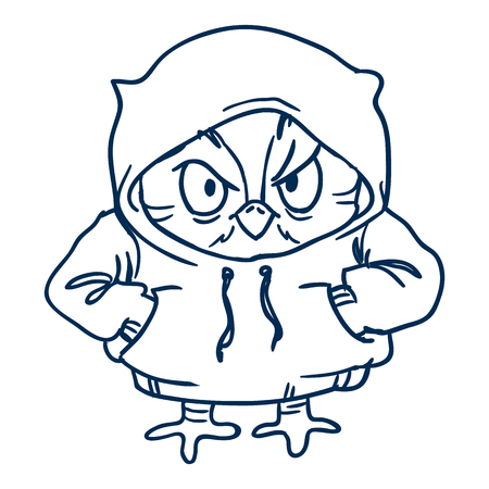 smart card: owl in  hoodie Line draw, hand-drawn contour on a white background for children coloring.