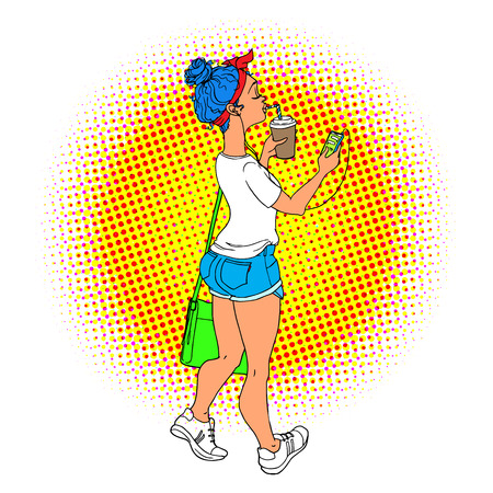Young woman walking with phone in headphones pop art retro vector illustration. Comic girl with blue hairs and coffee Illustration