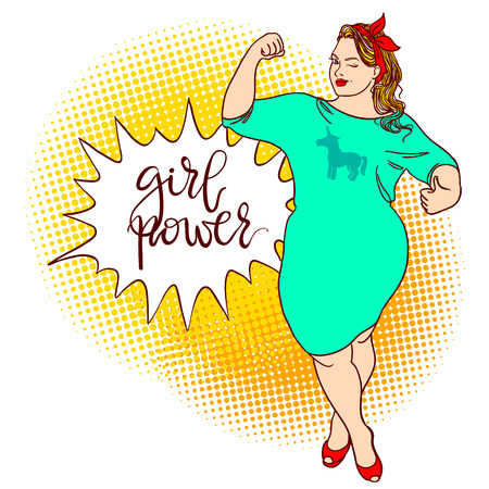 Curvy cartoon girl. Inscription: girl power. Comic pin-up, hand drawn pop art. Vector colorful hand drawn background in retro comic style. Plus size concept
