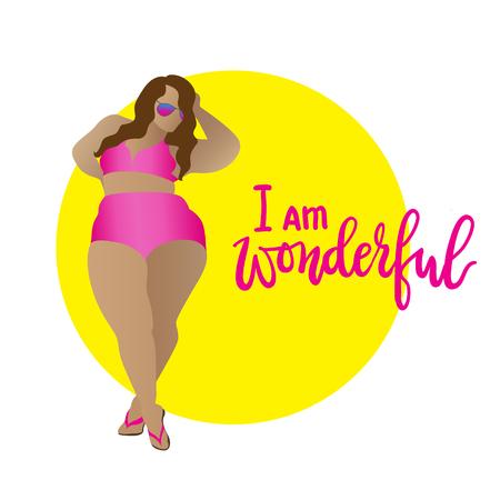 plus size: I am wonderful. Body positive, curvy girl in bikini. Vector icon plus size woman