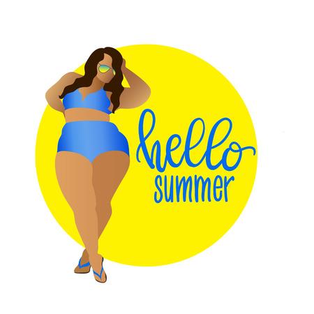 Hello summer. Body positive, curvy girl in bikini. Vector icon plus size woman Çizim