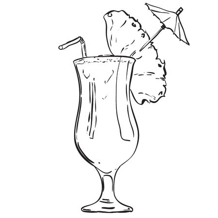 Handdrawn fruit cocktail in a tall glass with an umbrella. Against the backdrop of  wave splash