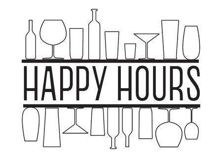 Happy hours Banner Ilustración de vector