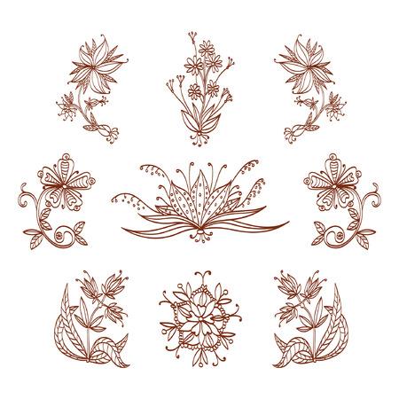 mendi: Hand-drawn flowers set