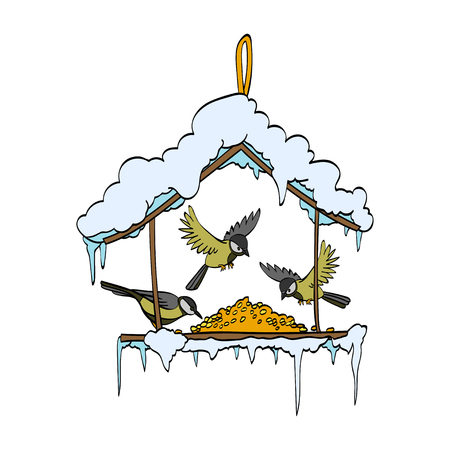 Birdfeeder in winter forest. Vector handdrawn illustration 矢量图像