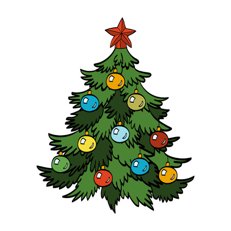 decorated christmas tree: Decorated Christmas tree isolated on white background. Vector hand-drawn illustration
