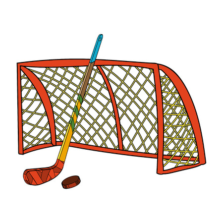 puck: Vector set of hockey stick, puck and gate. Hand-drawn illustration Illustration