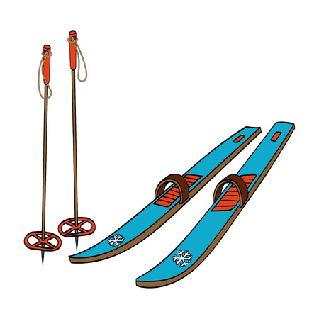 bindings: Vector illustration of a cross country old fashioned skis with classic bindings and ski poles isolated on white background