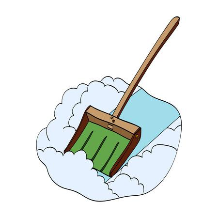 Winter snow shovel isolated on white background. Vector hand drawn illustration Иллюстрация
