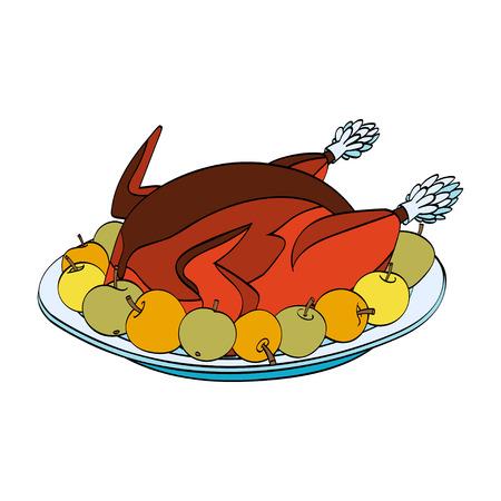 roast turkey: Christmas roast turkey with apples on the plate isolated on white background. Vector hand drawn illustration Illustration
