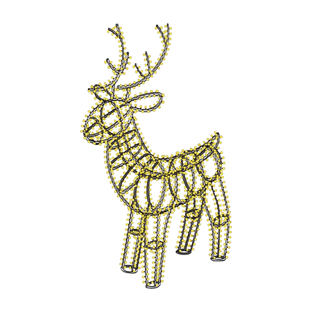 metal frame: Glowing Christmas deer. Sculpture made of small garland over the metal frame. Isolated on white background. Vector hand drawn illustration Illustration