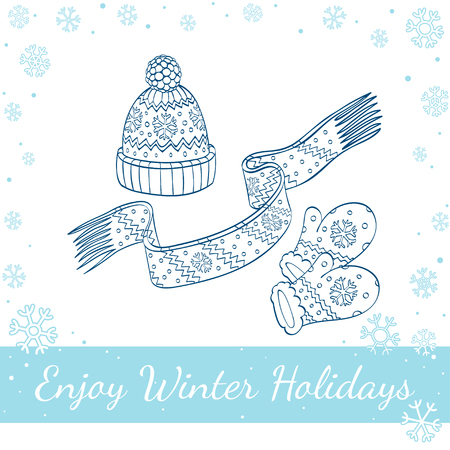 winter hat: Set of winter clothing. Hat, mittens and scarf. Vector hand-drawn line art illustration Illustration