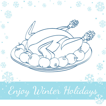 roast turkey: Christmas roast turkey with apples on the plate isolated on white background. Vector hand drawn line art illustration