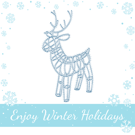drawn metal: Glowing Christmas deer. Sculpture made of small garland over the metal frame. Isolated on white background. Vector hand drawn line art illustration