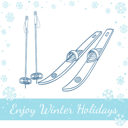 Vector line art illustration of a cross country old fashioned skis with classic bindings and ski poles isolated on white background Illustration