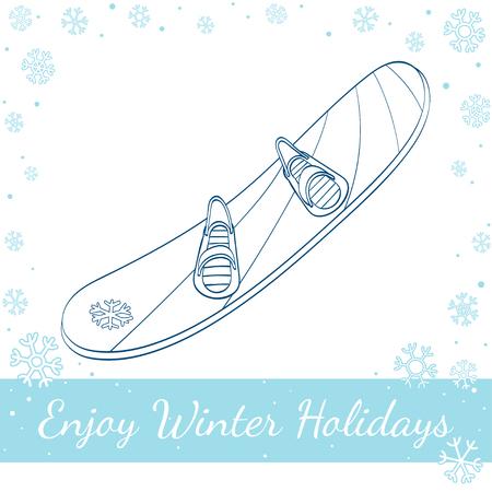 winter range: Winter snowboard isolated on white background. Vector hand drawn line art illustration
