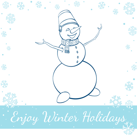 snowman isolated: Happy winter snowman isolated on white background. Vector hand drawn line art illustration