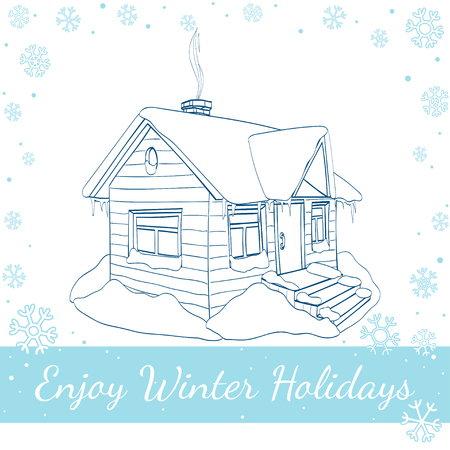 holly day: Winter house. Hand-drawn vector line art Illustration isolated on white background Stock Photo