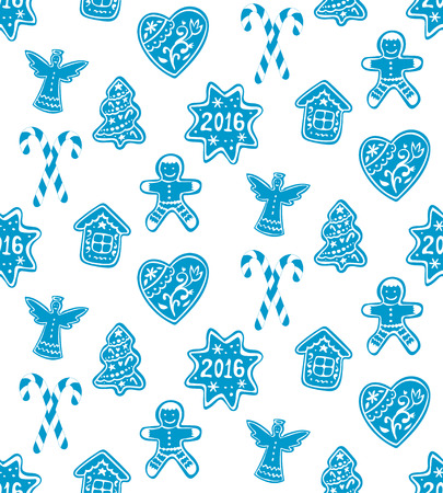 icing: Christmas gingerbread, cookies decorated white icing and glass of milk. Vector hand drawn Seamless Pattern Illustration