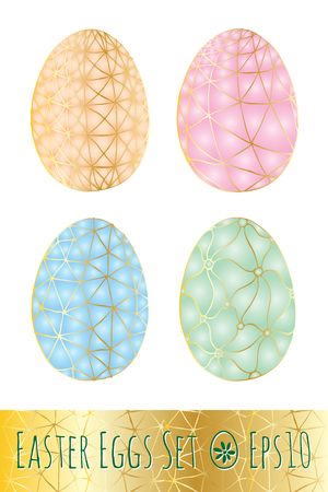 vitrage: Set of Easter eggs with geometric abstract pattern isolated on white background. Hand drawn vector illustration