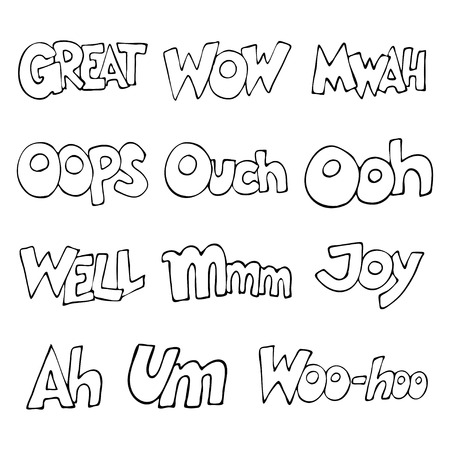 interjection: Lettering.  words. Oops, Wow, Great, Well, Woo-hoo, Mmm, Mwah, Um, Ooh, Ouch, Joy, Ah. illustration