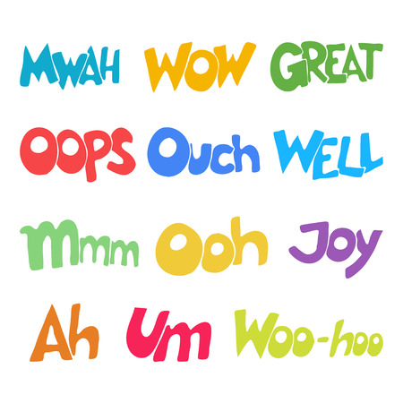 ouch: Lettering.  words. Oops, Wow, Yes, No, Great, Well, Woo-hoo, Mwah, Um, Ooh, Ouch, Joy, Ah. illustration