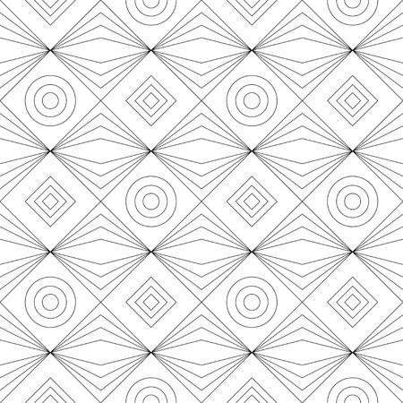 Monochrome geometrische dünne Linie nahtlose Muster. Schwarze und weiße Hintergrund. Vektor-Illustration