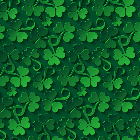 seamless clover: Floral seamless pattern. Saint Patricks day background with shamrock. Abstract carpet of grass. Ireland symbol of lucky ornament. Design with clover leaves for decor card, web site, wrapping, textile