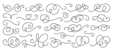 Calligraphic design element set, swirl ornament. Decorative curls, swirls flourishes, divider, swashes and filigree line ornaments for menu, certificate, diploma, wedding card, invatation