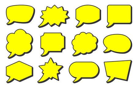 Retro sketch speech bubble icon set. Yellow cartoon pop art bubbles with black contour. Vector design fun comic page dialog text message balloon template shapes. Boom, burst, wow effect empty frame