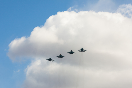 Russian fighters in the sky on the feast of victory day on 9 may. Stock Photo