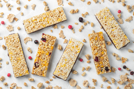Healthy sweet dessert snack. Cereal granola bar. 写真素材