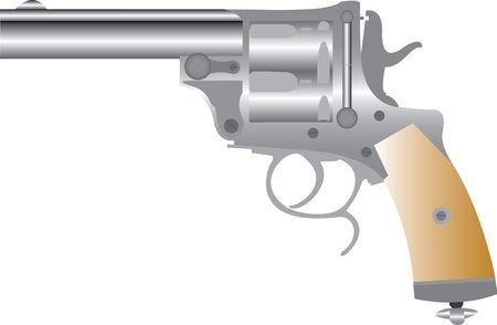 45 ammo: Revolver Gun.Vector. 3D realism Stock Photo