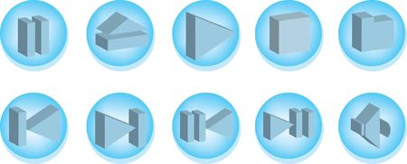 Collection of 3D buttons for mediaplayers. Vector illustration
