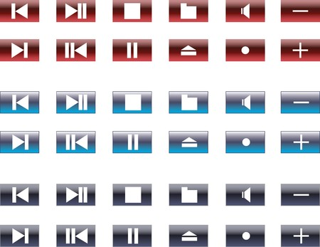 eject: Collection of buttons for mediaplayers. Vector illustration  Stock Photo