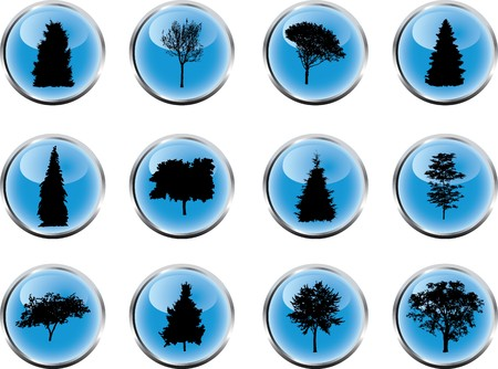 The set from silhouettes of trees, is presented in the form of 12 buttons.  photo