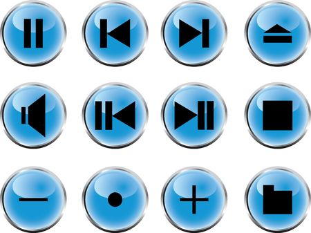 Collection of buttons for mediaplayers. Vector illustration  illustration
