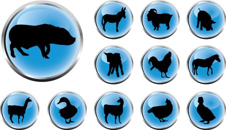 Animals. Set of 12 round buttons for web Stock Photo - 4739440