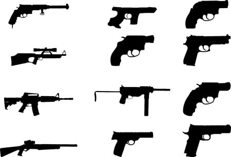 Guns. Set of 12 for web Stock Photo