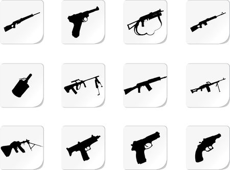 Guns. Set of 12 round buttons for web Stock Photo - 4786186