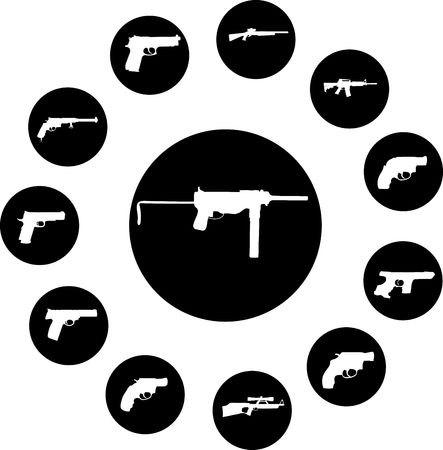 Guns. Set of 12 round buttons for web Stock Photo - 4885190