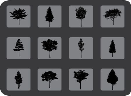 The set from silhouettes of trees, is presented in the form of 9 buttons. photo