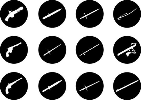 Guns. Set of 12 vector for web. Similar images can be found in my gallery.  photo