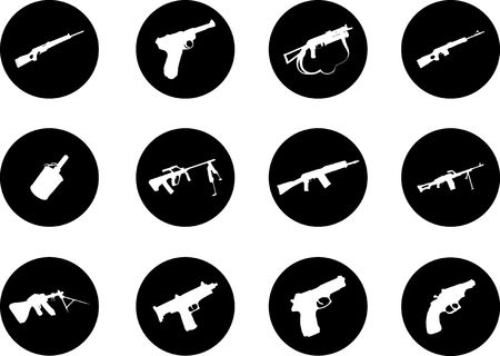 Guns. Set of 12 round vector buttons for web  Stock Photo - 5524222