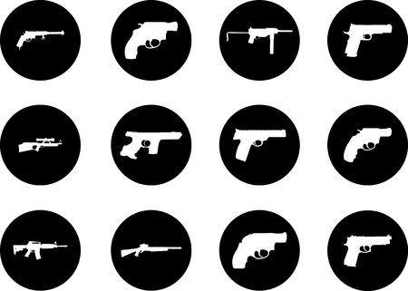Guns. Set of 12 round vector buttons for web Stock Photo - 5524216