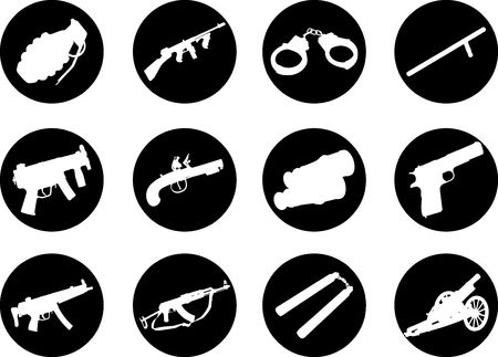 Guns. Set of 12 round vector buttons for web Stock Photo - 5523978