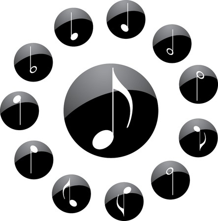 quarter note: Icon. Music notes.  Stock Photo
